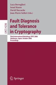 Cover of: Fault Diagnosis and Tolerance in Cryptography |