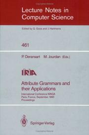Cover of: Attribute grammars and their applications |