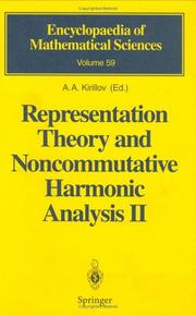 Cover of: Representation Theory and Noncommutative Harmonic Analysis II |