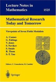 Cover of: Mathematical Research Today and Tomorrow |