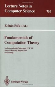 Cover of: Fundamentals of Computation Theory | Zoltan Esik