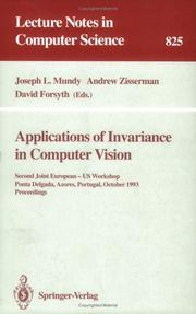 Cover of: Applications of invariance in computer vision |