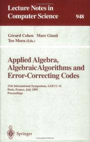 Cover of: Applied algebra, algebraic algorithms, and error-correcting codes