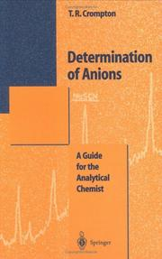 Cover of: Determination of anions