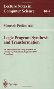 Cover of: Logic program synthesis and transformation