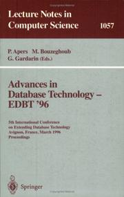 Cover of: Advances in database technology--EDBT '96