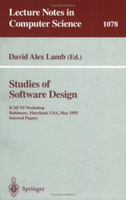 Cover of: Studies of Software Design: Icse