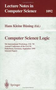 Cover of: Computer Science Logic | Hans Kleine Buening