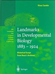 Cover of: Landmarks in developmental biology, 1883-1924