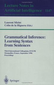 Cover of: Grammatical inference by International Colloquium on Grammatical Inference (6th 2002 Amsterdam, Netherlands)