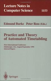 Cover of: Practice and theory of automated timetabling