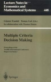 Cover of: Multiple criteria decision making