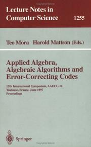 Cover of: Applied Algebra, Algebraic Algorithms and Error-Correcting Codes |