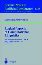 Cover of: Logical aspects of computational linguistics | LACL