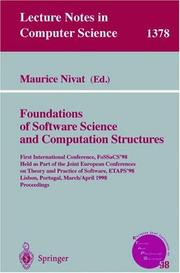 Cover of: Foundations of software science and computation structures