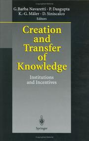Cover of: Creation and transfer of knowledge