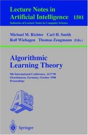Cover of: Algorithmic learning theory