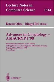 Cover of: Advances in cryptology--ASIACRYPT'98