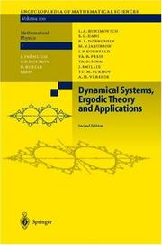 Cover of: Dynamical systems, ergodic theory, and applications |