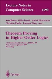Cover of: Theorem Proving in Higher Order Logics |