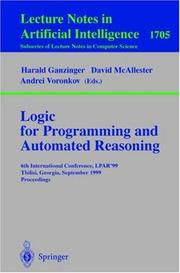 Cover of: Logic for programming and automated reasoning by