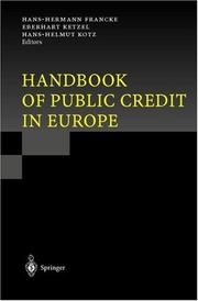 Cover of: Handbook of public credit in Europe | Hans-Hermann Francke