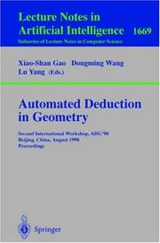 Cover of: Automated deduction in geometry |