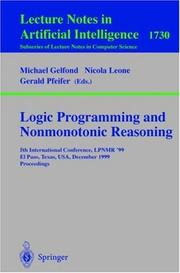 Cover of: Logic programming and nonmonotonic reasoning