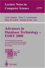 Cover of: Advances in Database Technology - EDBT 2000 |