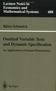 Cover of: Omitted Variable Tests and Dynamic Specification | Björn Schmolck