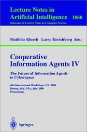 Cover of: Cooperative Information Agents IV | Mass.) CIA 200 (2000 Boston