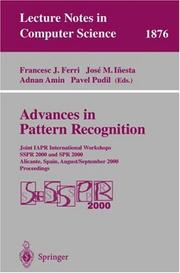 Cover of: Advances in pattern recognition by