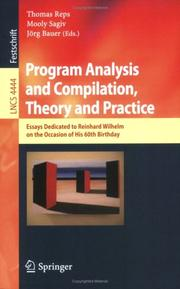Cover of: Program Analysis and Compilation, Theory and Practice |