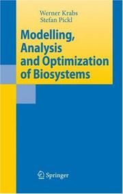 Cover of: Modelling, analysis and optimization of biosystems |