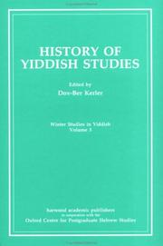 Cover of: History of Yiddish Studies (Winter Stu) | Dov-Ber Kerler