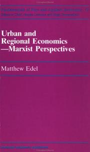 Cover of: Urban and Regional Economics