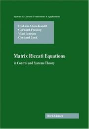 Cover of: Matrix Riccati equations: in control and systems theory