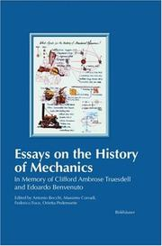 Essays on the History of Mechanics: In Memory of Clifford Ambrose Truesdell and Edoardo Benvenuto