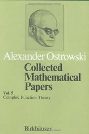 Cover of: Collected Mathematical Papers Vol. 5: XIII. Complex Function Theory