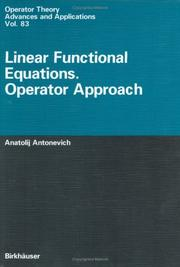 Cover of: Linear functional equations
