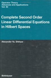 Cover of: Complete second order linear differential equations in Hilbert spaces