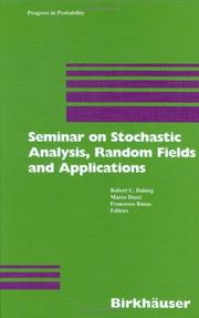 Cover of: Seminar on Stochastic Analysis, Random Fields and Applications