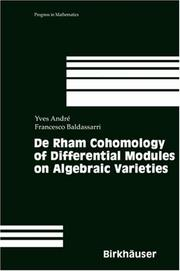 Cover of: De Rham Cohomology of Differential Modules on Algebraic Varieties (Progress in Mathematics) | Yves AndrГ©
