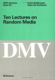 Cover of: Ten Lectures on Random Media (Oberwolfach Seminars) | Erwin Bolthausen