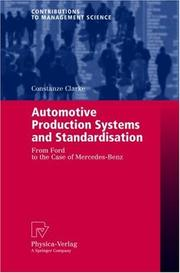 Cover of: Automotive Production Systems and Standardisation | Constanze Clarke