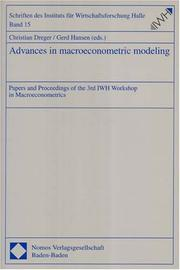 Cover of: Advances in Macroeconometric Modeling |