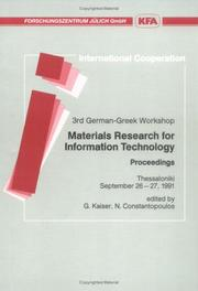 3rd German-Greek Workshop on Materials Research for Information Technology