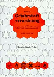 Cover of: Gefahrstoffverordnung (1993) | Germany