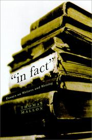 Cover of: In fact: essays on writers and writing