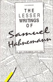 Cover of: Lesser writings of Samuel Hahnemann